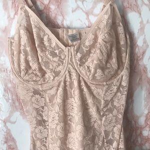 Blush Pink Lace Lingerie Bra Shapewear Bodysuit